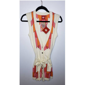 OILILY Boho Festival Embroidered Tie Sweater Vest